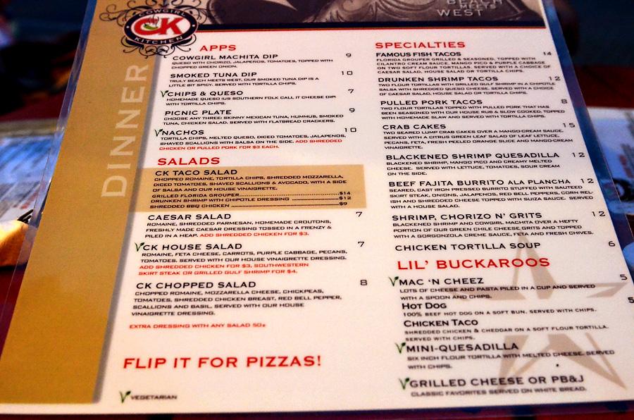 Cowgirl Kitchen - dinner menu