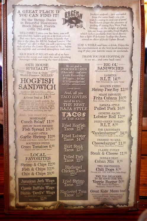 Hogfish menu