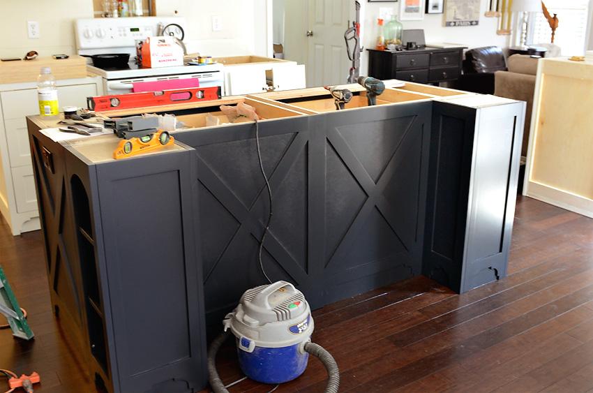 Kitchen Remodel Custom Cabinets Install dark grey island