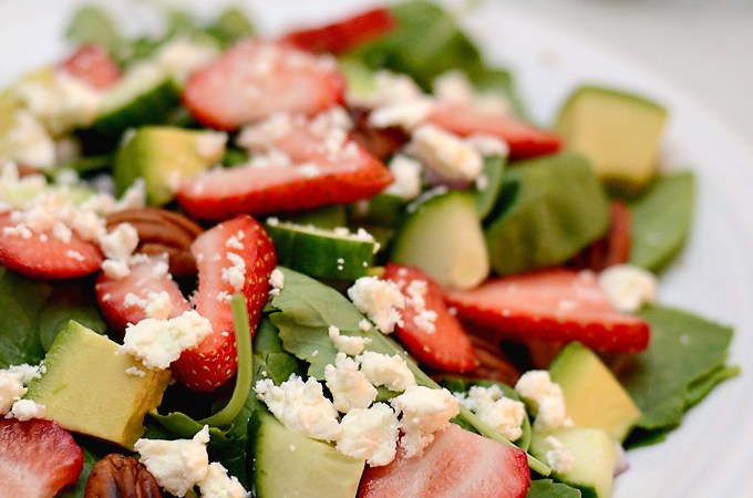Strawberry Avocado Spinach & Kale Salad