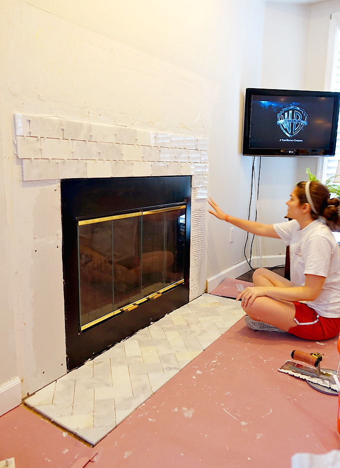 Fireplace-Makeover-Greecian-White-Marble-Tile-04