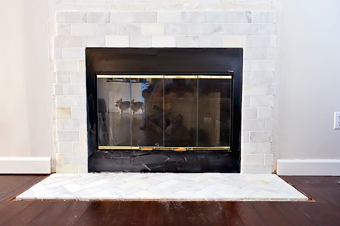 Fireplace-Makeover-Greecian-White-Marble-Tile-Snow-White-Grout