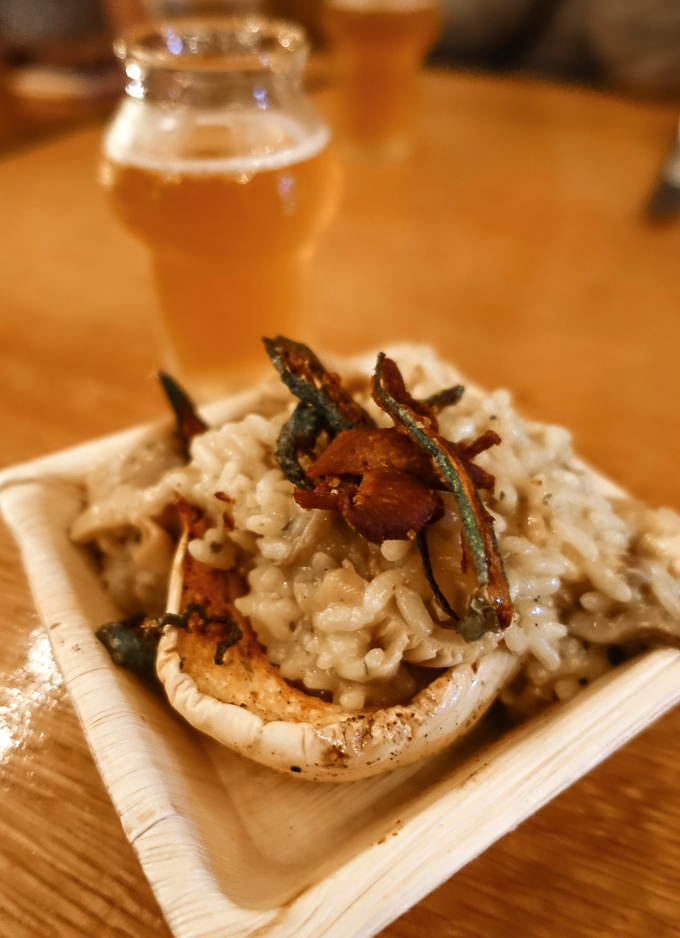 olibea-mushroom-risotto-pretentious-brewing-brett-trois-ipa
