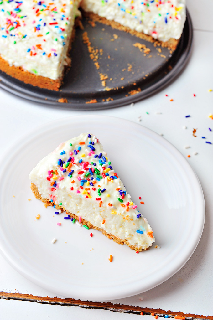 NoBake Birthday Cake Cheesecake
