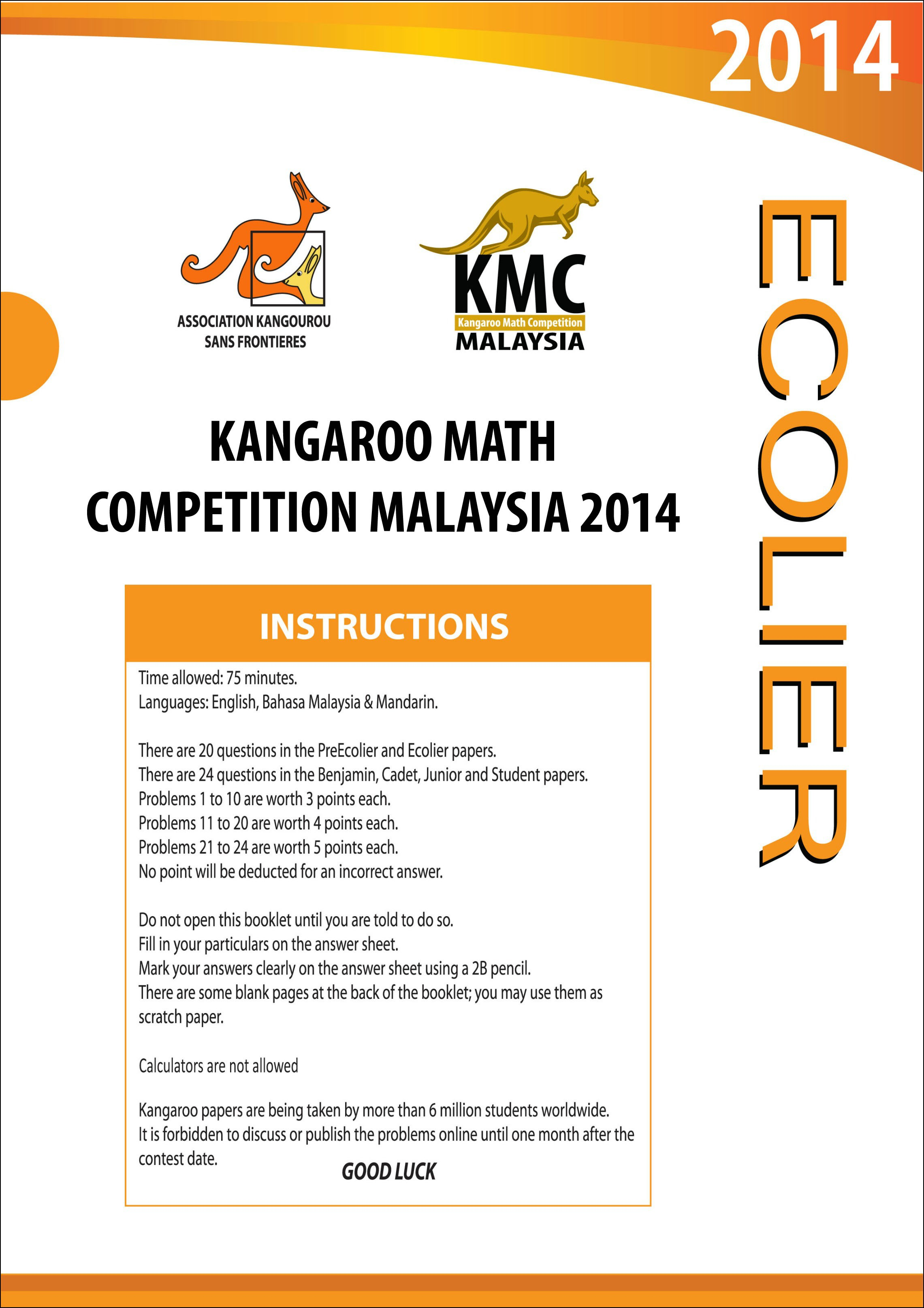 Kangaroo Maths Competition Papers Class 3