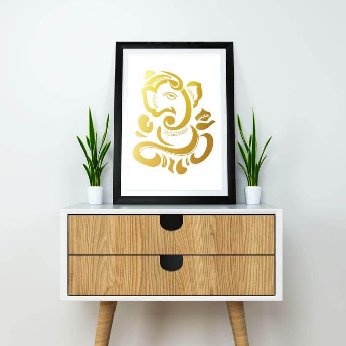 Ganesh Wall Art, Gold Foiled (GFW1)