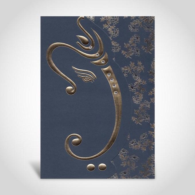 Dark Blue Hindu Wedding Card – CFK54