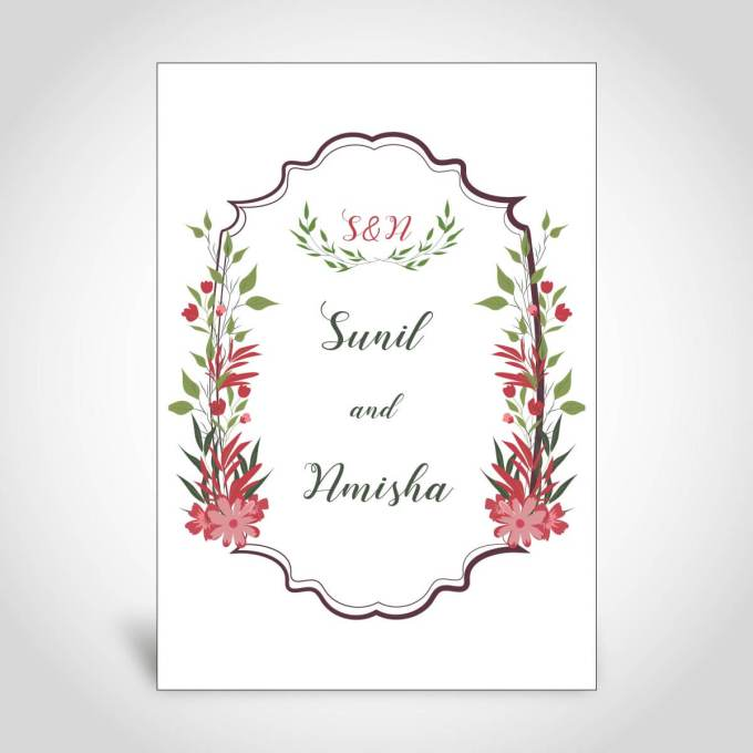 Floral Hindu Wedding Card – CFK137