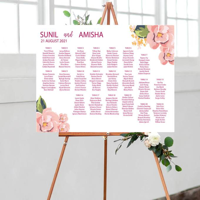 Floral Wedding Seating Chart – 1
