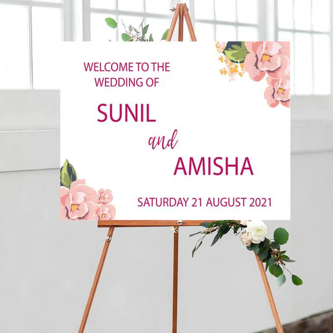 Floral Wedding Welcome Sign – 1