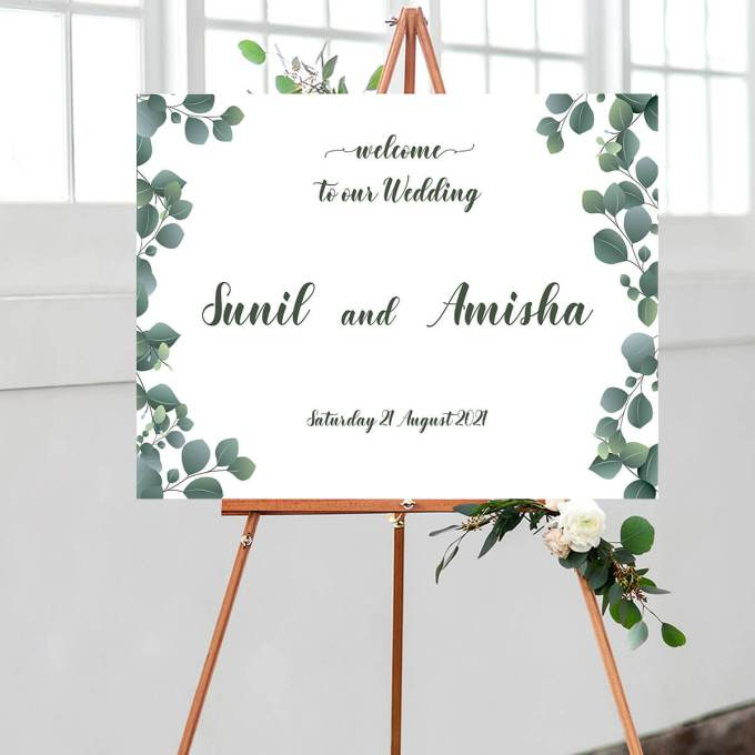 Floral Wedding Welcome Sign, Eucalyptus Leaves – 12