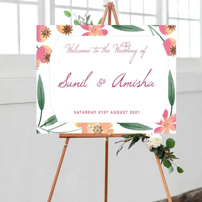 Floral Wedding Welcome Sign – 8