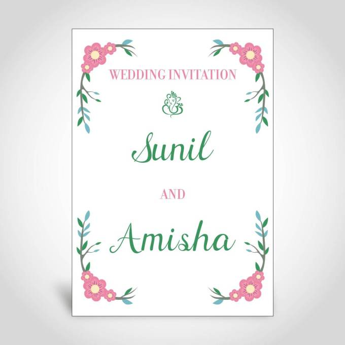 Indian Wedding Card with Floral Border – CFK174