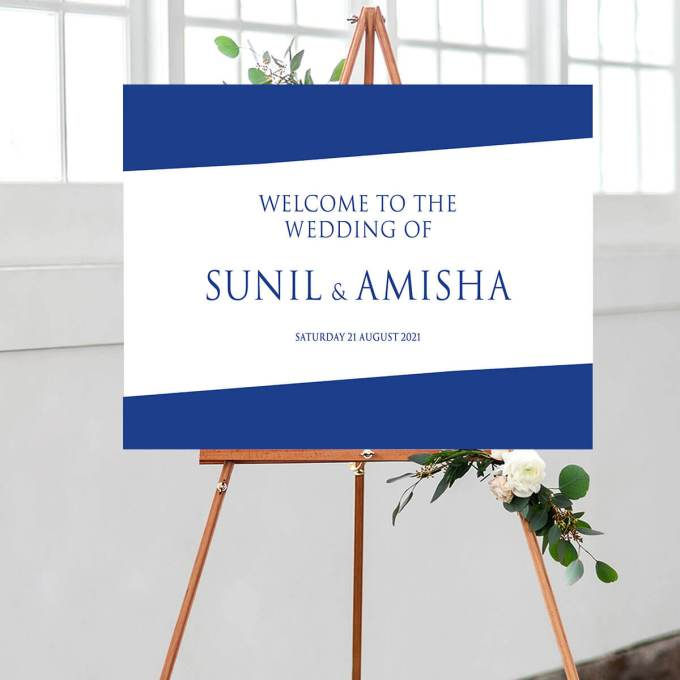 Rectangle Wedding Welcome Sign, Blue – 1