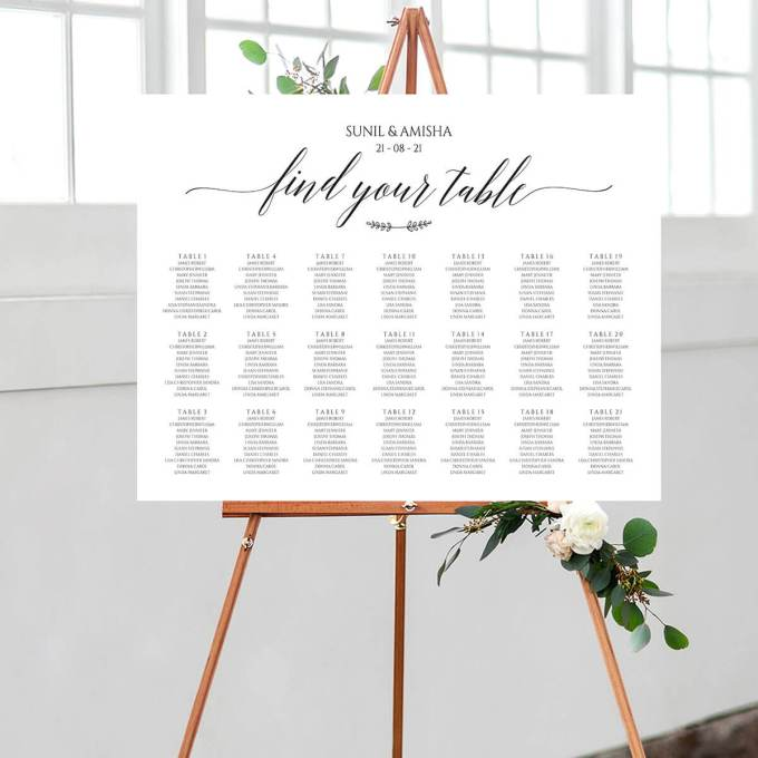 Traditional Rectangle Wedding Seating Chart – 1
