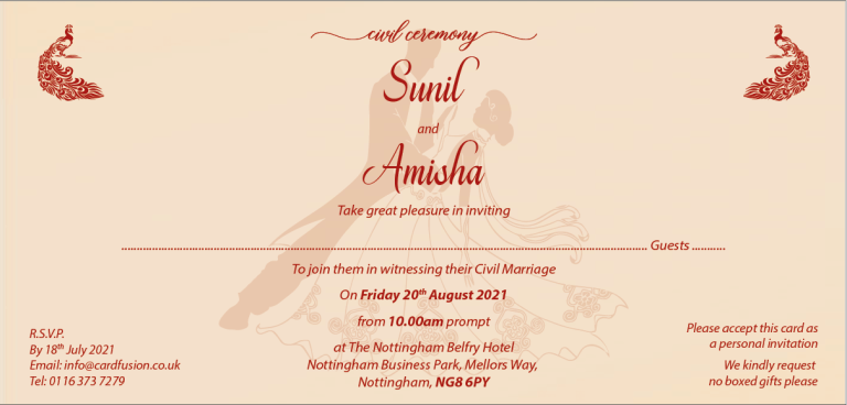 Civil Ceremony Invitation Wordings and Templates CardFusion