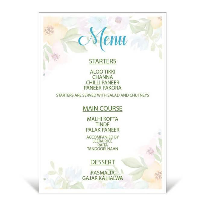 Floral Theme Table Menu – 3