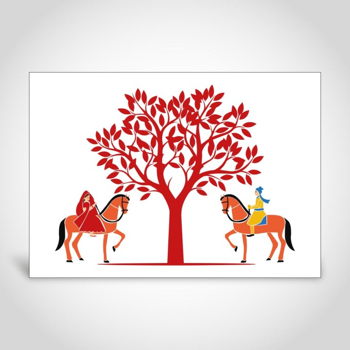 Indian Wedding Card with Bride and Groom on Horses – CF191