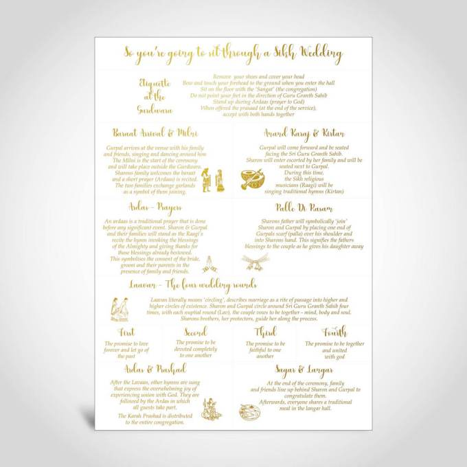 Sikh Wedding Order of Service – A4 – 3 (Gold foiled)