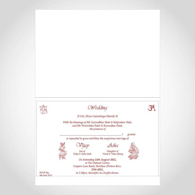Red Watercolour Hindu Wedding Card – CF212