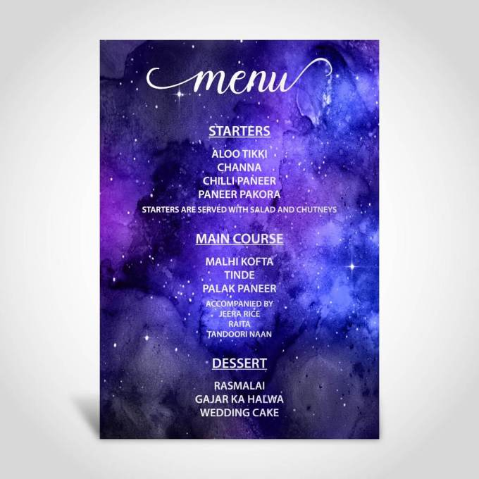 Menu Card | Evening Reception Party – Silver Foil – 1