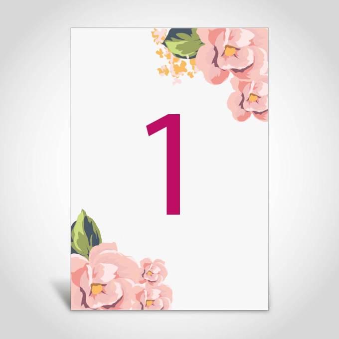 Floral Wedding Table Number – 5