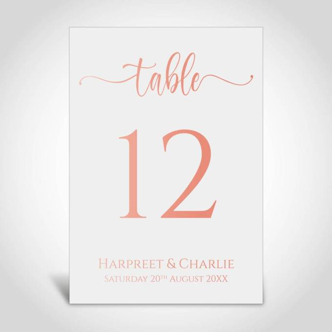 Wedding Table Numbers – Rose Gold Foiled – 9