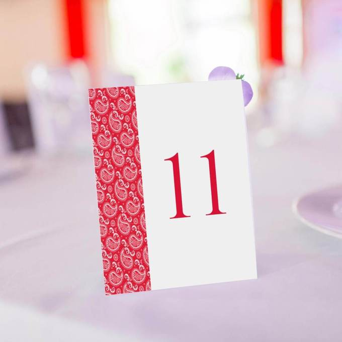 Red Paisley Wedding Table Number – 7