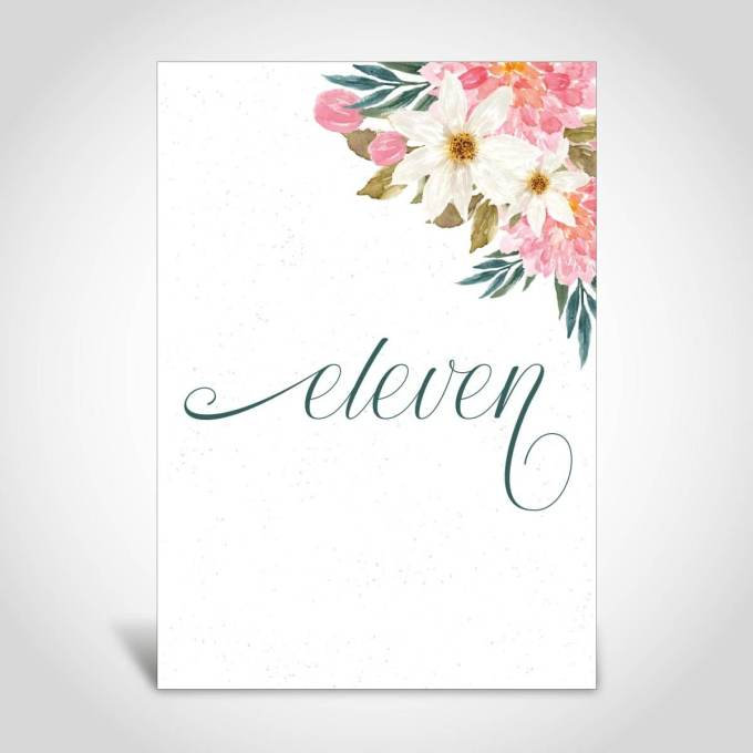 Floral Wedding Table Number – 8