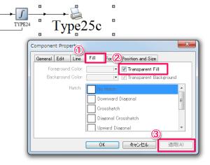 「Fill」タブを選んで、「Transparet Fill」の項目をチェック