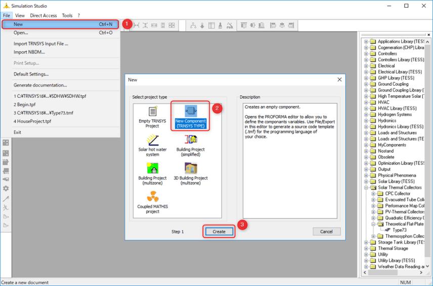 Simulation StudioでNew Componentをクリック