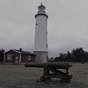 Fårö fyr Hällefors kanon, fyrtorn i bakgrundenFoto: Petter Rimfors