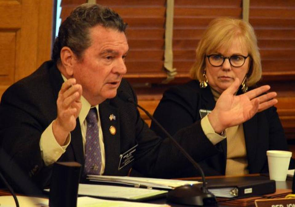 Kansas Rep. Dick Jones, left, R-Topeka, speaks Thursday in Topeka at a House committee hearing in favor of a resolution to bring Kansas into a convention of the states to amend the U.S. Constitution. Watching to his left is Rep. Susan Concannon, R-Beloit.