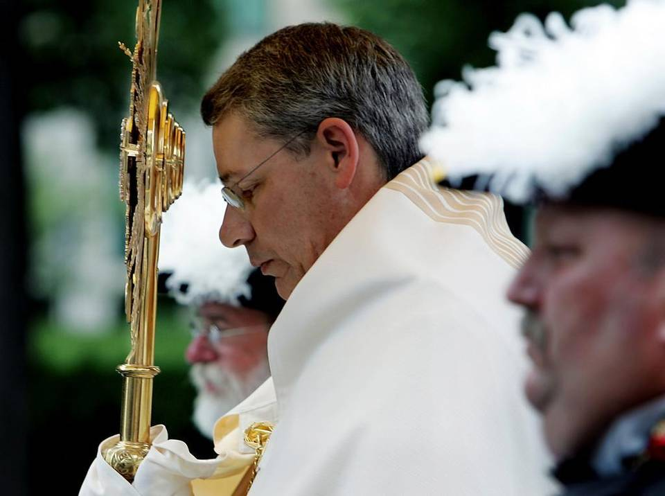 Despite announcing his resignation a week ago, Bishop Robert W. Finn will preside over the priestly ordinations of seven area deacons next month in the Kansas City-St. Joseph Diocese. Longtime critics of Finn expressed agitation over Finn's continuing role in a diocese from which he stepped down under a cloud of scandal.