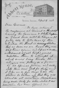 Adjutant General Colonel A. B. Campbell of Parsons, Kansas, writes Kansas Governor John Martin of Topeka. He informs the governor that citizens are putting together a force of fifty special police to respond to striking railroad workers. Railroad employees at Parsons were striking and the governor granted permission to provide citizens with arms to keep the peace.