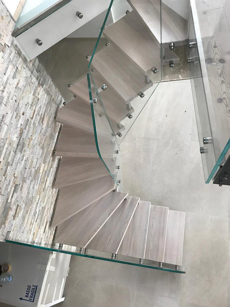 Glastreppe mit Holz Eiche weiss gebleicht