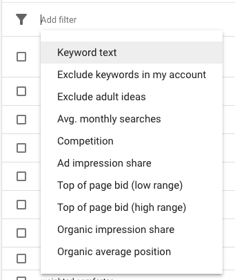 New style Keyword Planner filters