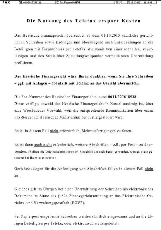 Fax ans Hessische Finanzgericht