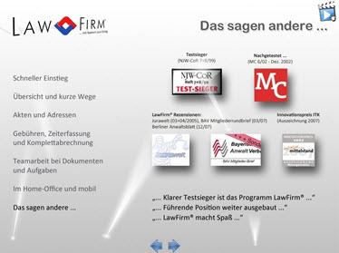 Schnell Übersicht - Anwaltssoftware LawFirm interaktiv mit wenigen Klicks durchsehen