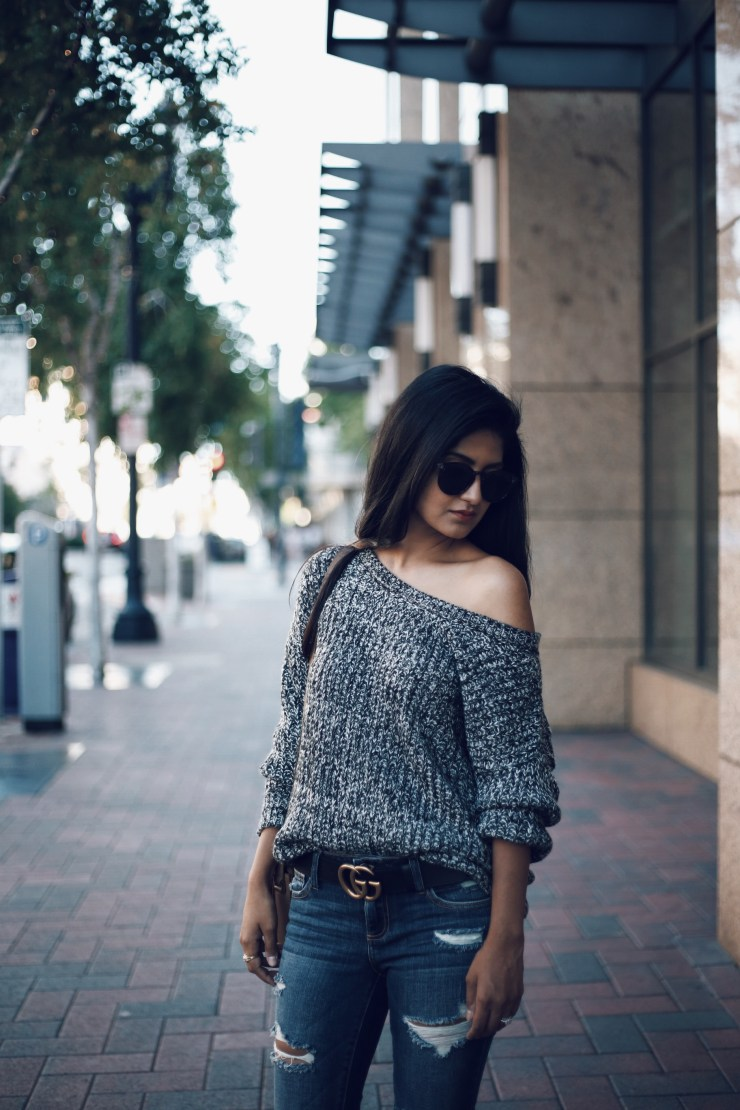 Distressed Jeans and sweater
