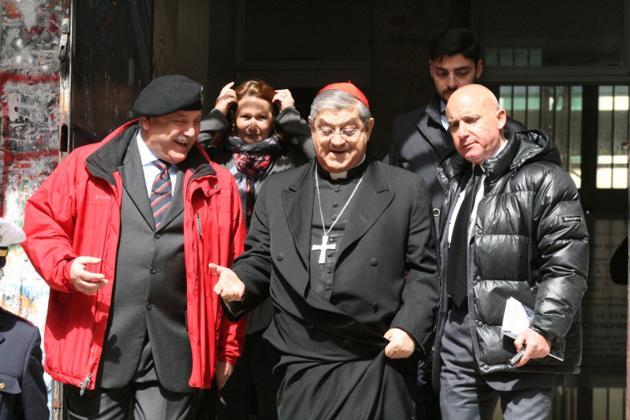 Il Cardinale di Napoli Crescenzio Sepe benedice i luoghi della Resistenza