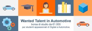Wanted Talent in Automotive: una borsa di studio di €1.000