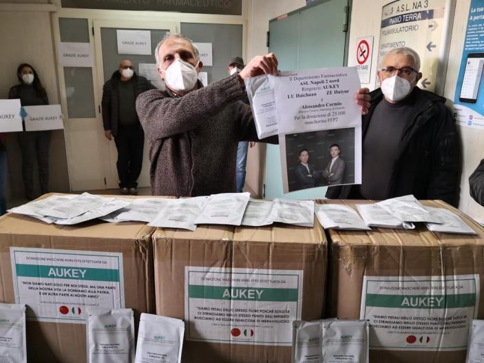 Covid 19: Da azienda cinese 25.000 mascherine FFP2 all'ASL NA 2