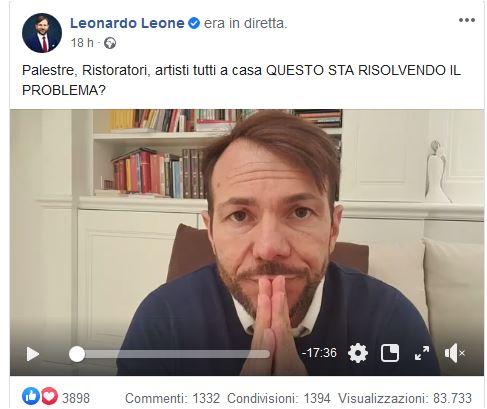 """Leonardo Leone in diretta social: """"I veri eroi in Italia sono gli imprenditori"""""""