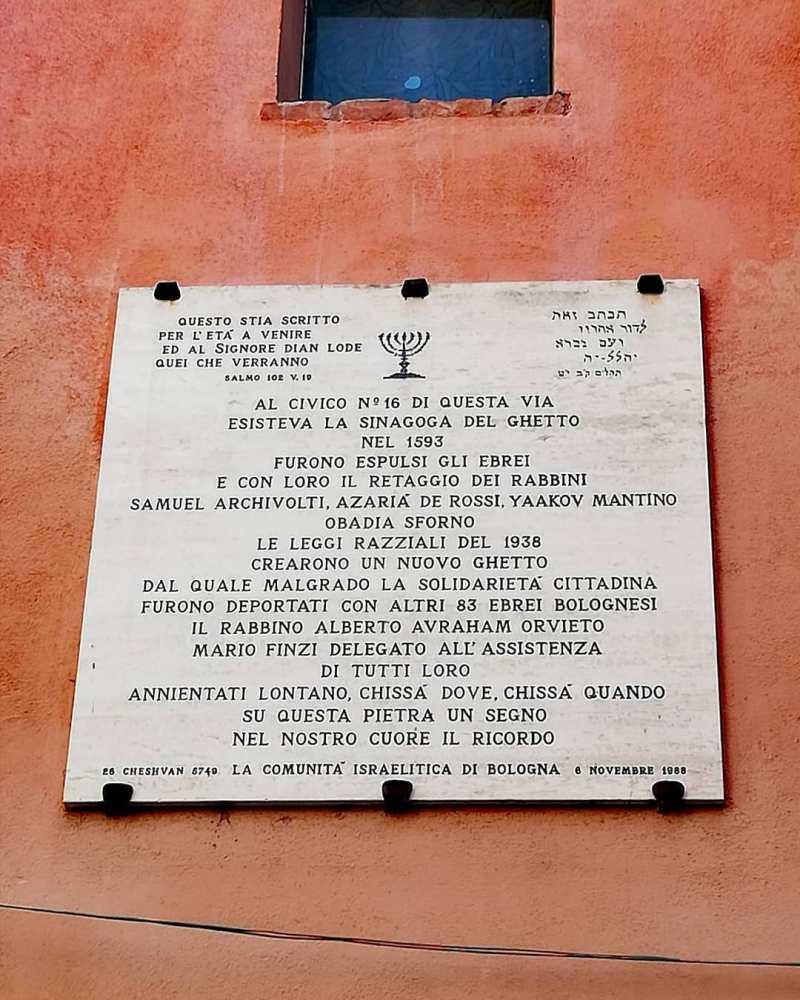 Targa commemorativa Ex ghetto Ebraico. Per non dimenticare.