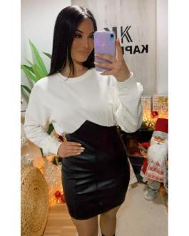 Vestido sudadera Blanco y negro 2912