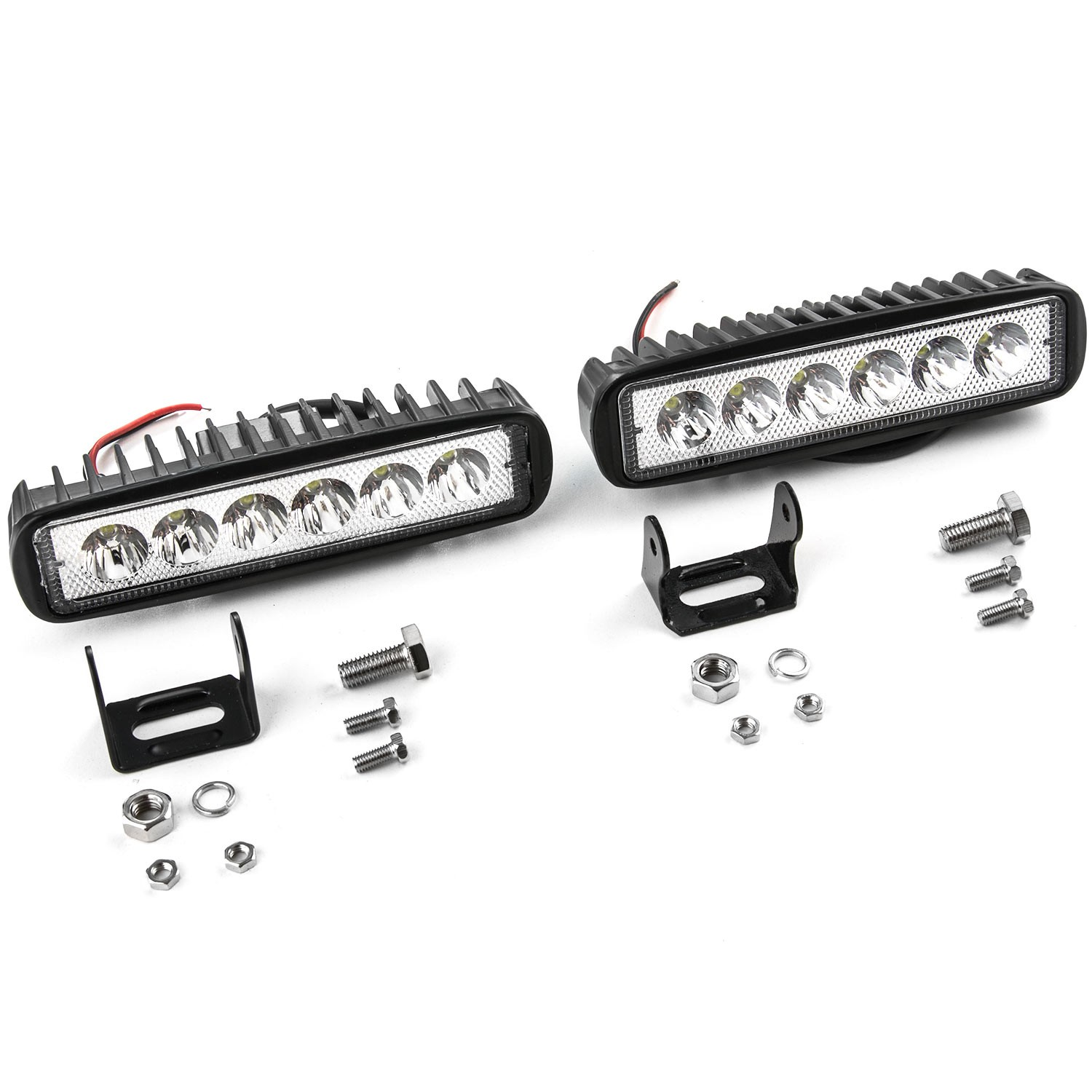 2pcs 18w Flood Led Light Rectangle Bar Offroad Lights 4wd