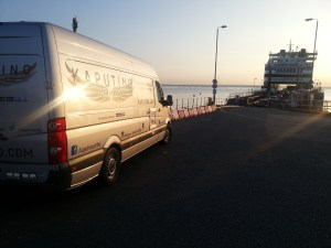 kaputino coffee van at Wightink ferry on journey to runnning event catering