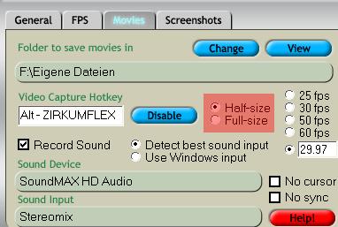 Fraps: Half-size recording