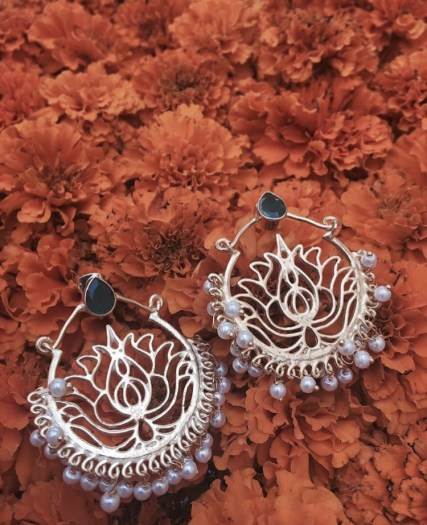 Floral-inspired brass jaali chand balis